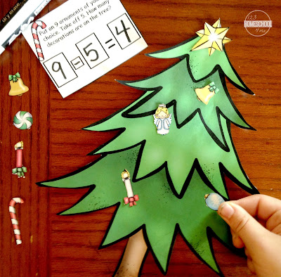 Christmas math worksheets - Christmas tree subtraction word problems