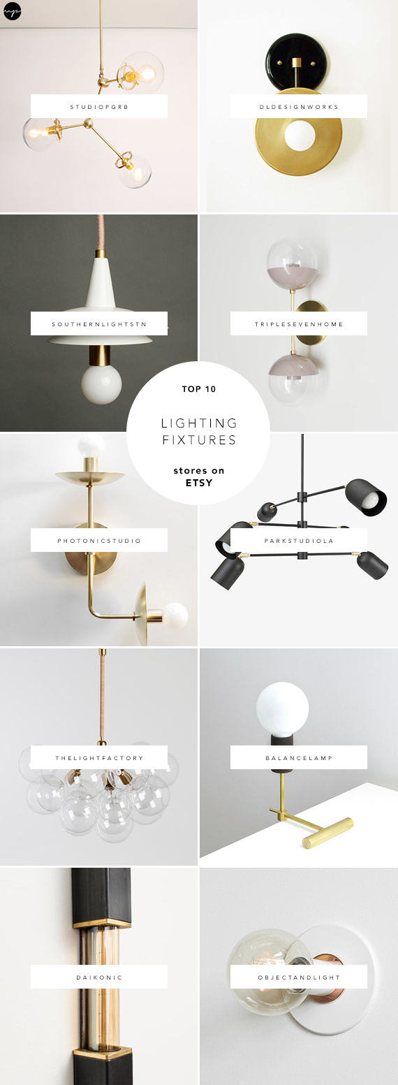 Modern, minimal, industrial and contemporary lighting fixtures on Etsy