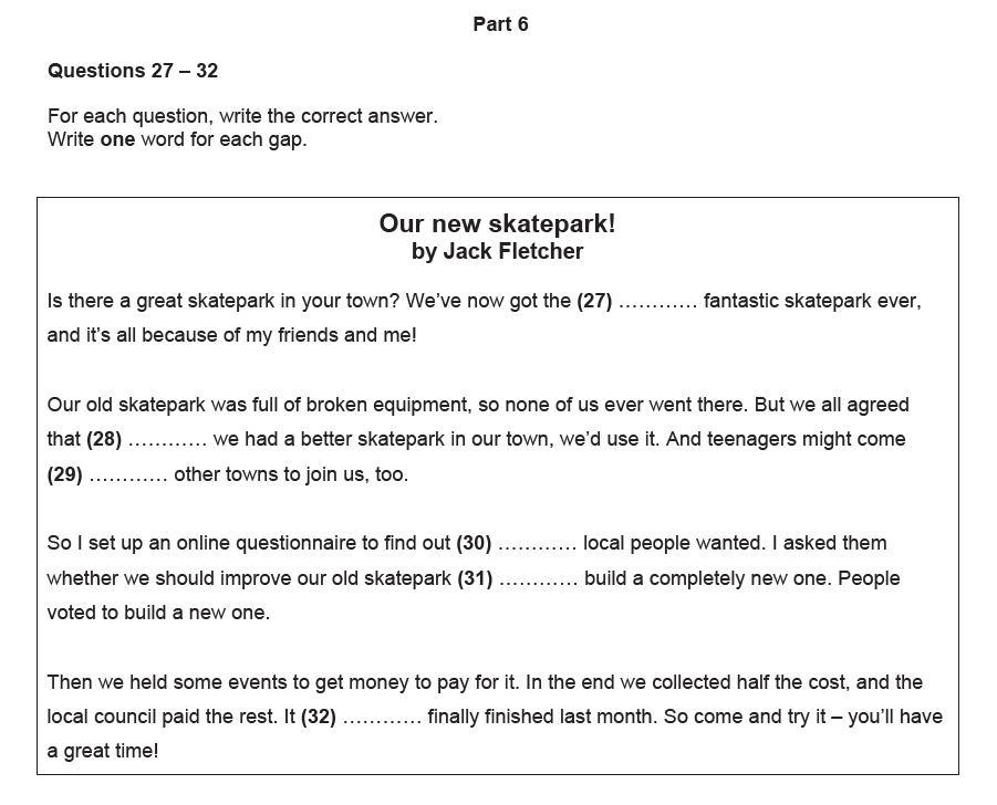 Repaso para la parte 6 del reading del Preliminary (B1 ...