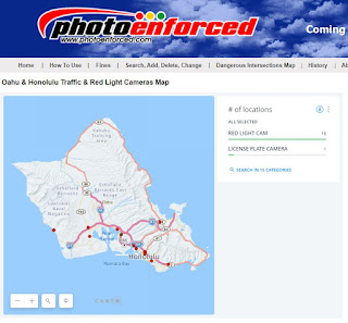 Oahu traffic and red light cameras map