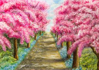 Kirsipuude allee sinililledega