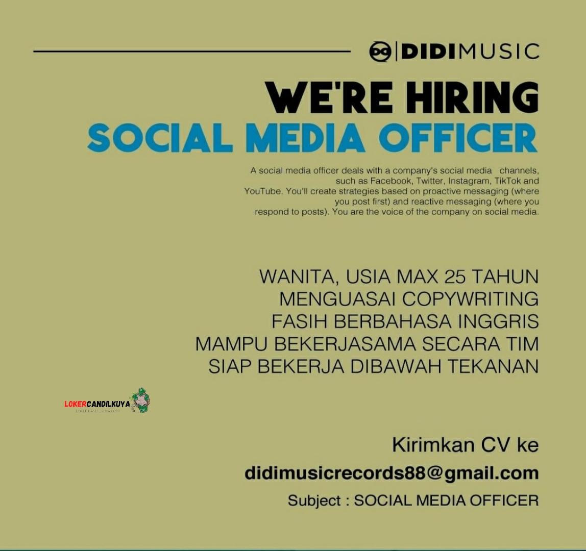 Lowongan Kerja Social Media Officer Didi Music Bandung