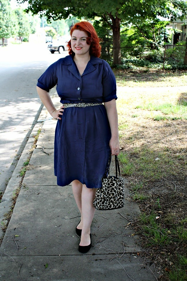 1940s 1950s navy blue plus size day dress with leopard accessories from Va-Voom Vintage