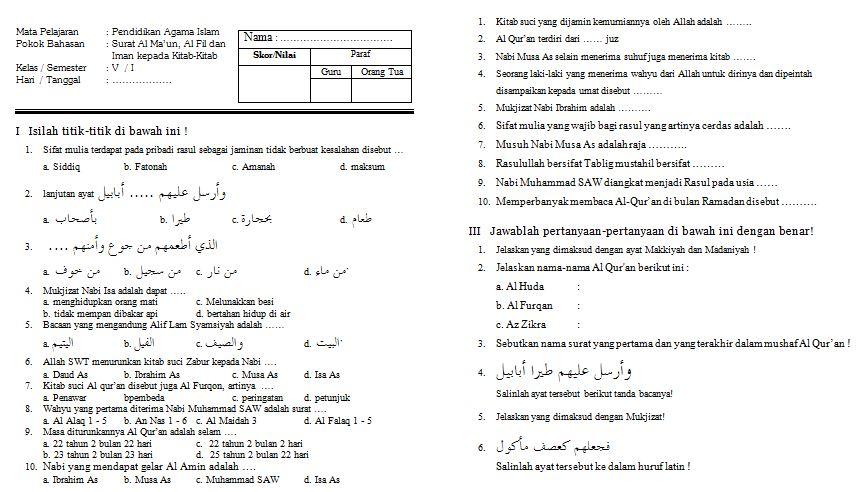 Contoh Soal Ulangan Harian Mata Pelajaran Pendidikan Agama Islam Kelas V SD Format Microsoft Word