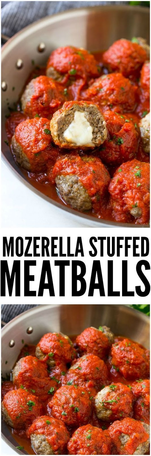 Mozzarella Stuffed Meatballs - Easy To Make - These mozzarella stuffed meatballs are a fun twist on the classic recipe - serve these meatballs as a party appetizer or over a big plate of spaghetti for a hearty meal! #mozzarella #stuffed #meatballs #dinnerrecipe #appetizerrecipe #summerrecipe #summerfood