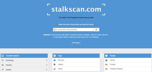 - جميع المعلومات حول صفحتك الشخصية على فيس بوك Stalkscan