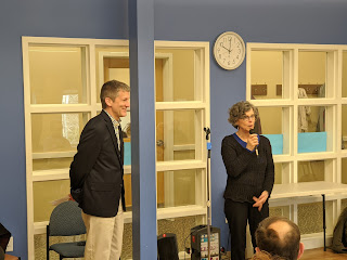 Director Karen Alves introduced Jamie Hellen at the Senior Center, Feb 25, 2020