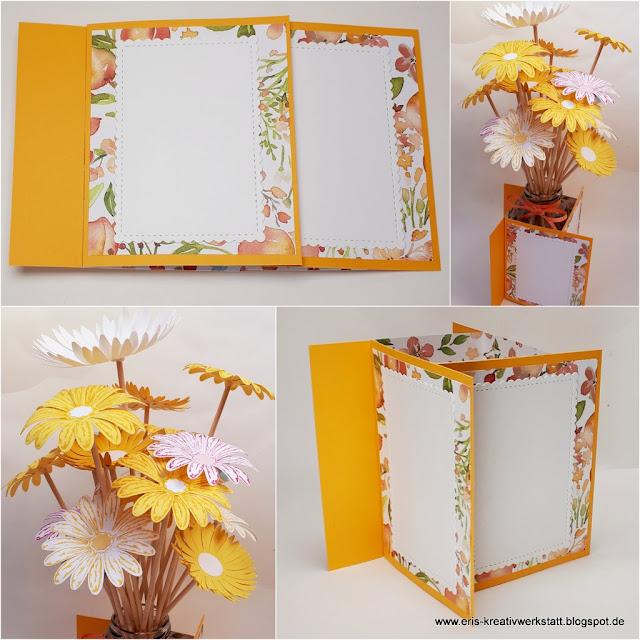 Teamtreffen: Pinwheel Tower Card als Tischdeko mit Blumen Stampin' Up! www.eris-kreativwerkstatt.blogspot.de