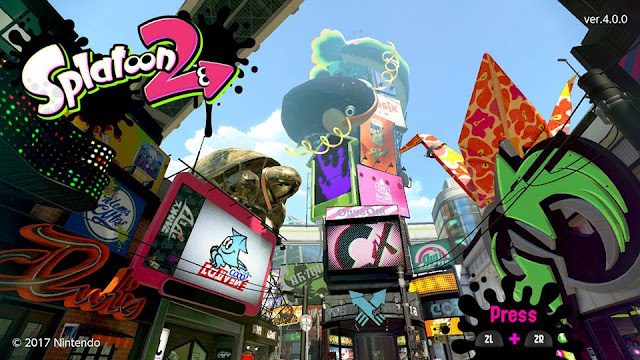 Splatoon 2 Version 4.0.0 start screen
