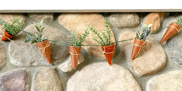 How to make DIY jute and burlap carrots for Spring Decorating