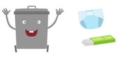 Gray trash can