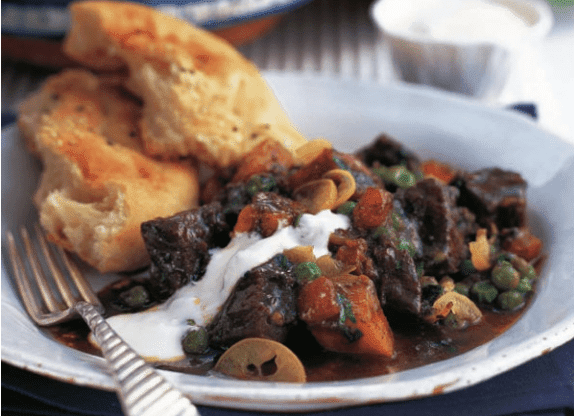 Beef tagine with sweet potatoes, peas, ginger and ras-elhanout