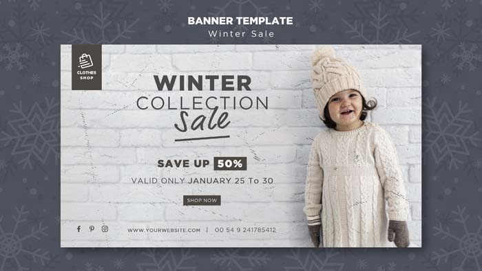 Cute Child Winter Collection Sale Banner Template