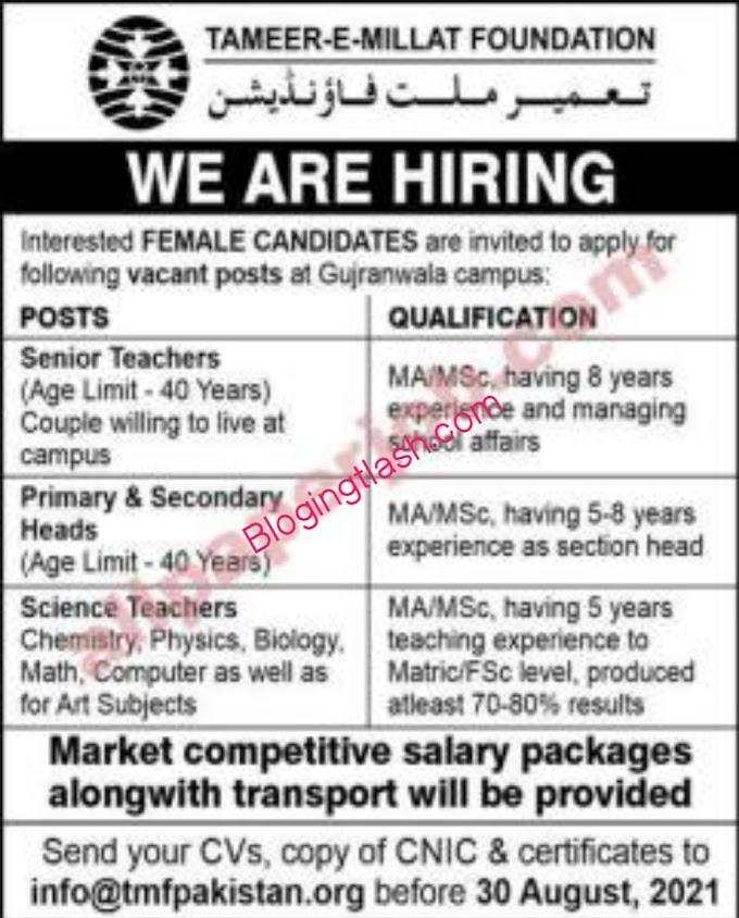Latest Teacher Jobs in Gujranwala 2021 Department of Tamir e Millat Foundation
