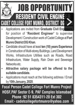 New jobs in Cadet College