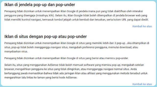 Pasang iklan popup atau popunder beresiko akun kena banned. Bolehkan dan amankan jika menggabungkan iklan google adsense dengan iklan popunder dari popcash,popads,poptm,dan propeller ads.