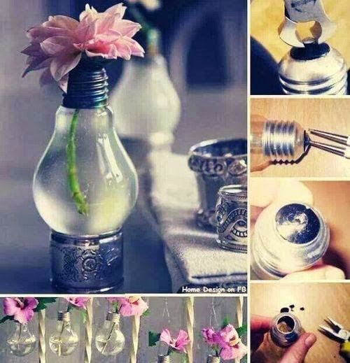 Pot bunga dari lampu listrik bekas ini sangat indah untuk menghiasi ruangan rumah anda