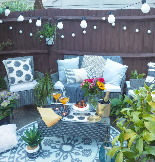 How to create an outdoor living room in your garden this summer. budget summer garden makeover in collaboration with Sainsbury's Home.
