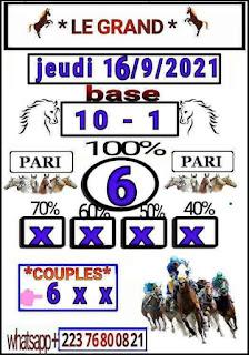Pronostics quinté+ pmu jeudi Paris-Turf-100 % 16/09/2021