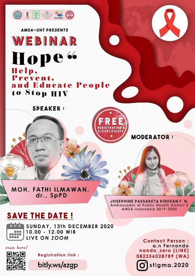 STIGMA 2020 - HOPE (Dalam rangka memperingati Hari AIDS Sedunia tahun 2020, STIGMA x Charity AMSA-UHT )