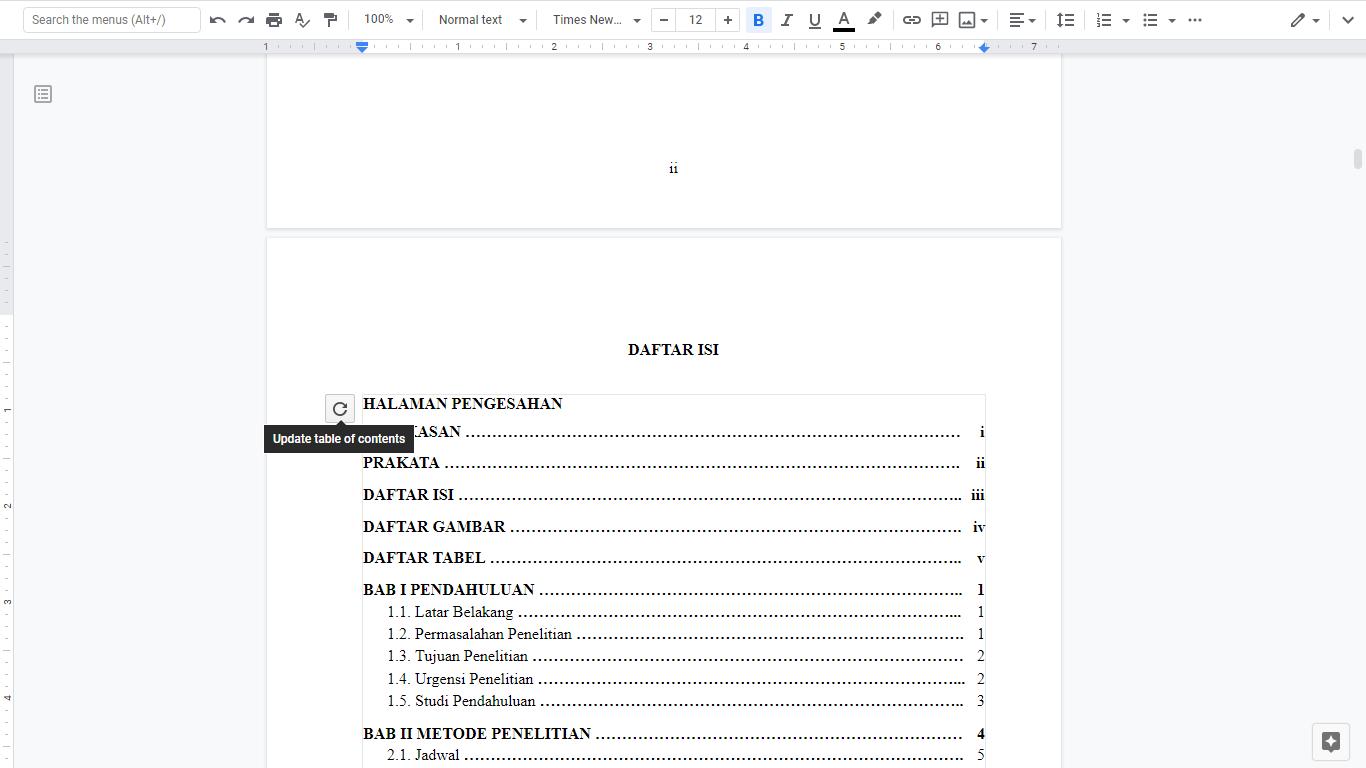 Cara Membuat Daftar Isi Otomatis Disertai Titik Titik Dotted Pada Google Docs Web Internet Of Thing Go Blog