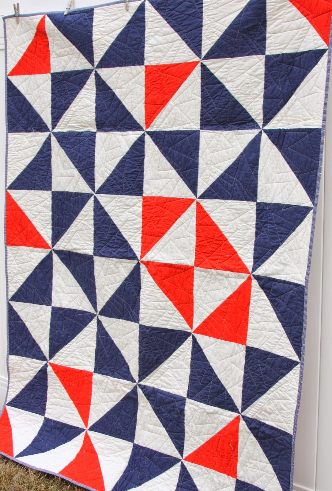 Easy half-square triangle quilt