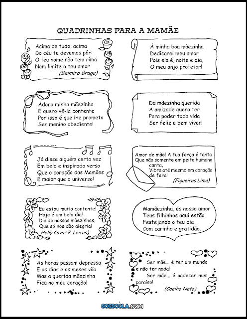 Sugestões de textos curtos prontos para imprimir que são ótimos para trabalhar o Dia das Mães.