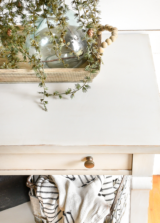 Light gray painted console table