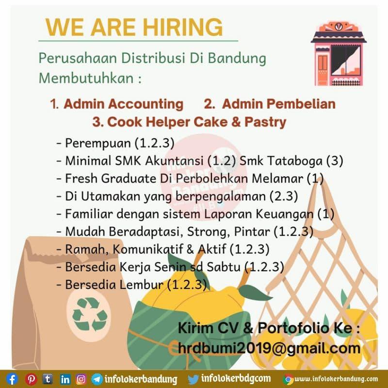 Lowongan kerja Perusahaan Distribusi Bandung Agustus 2021