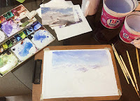 Preparing for water colour painting of a scene on the way to Ladakh