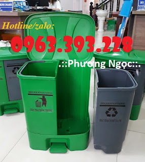 Thùng rác 2 ngăn đạp chân, thùng rác nhựa 2 ngăn 40L, thùng rác đạp chân 8a5b630031dad3848acb