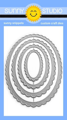 Sunny Studio Stamps Stitched Scalloped Oval Mat 1 Nesting Metal Cutting Dies