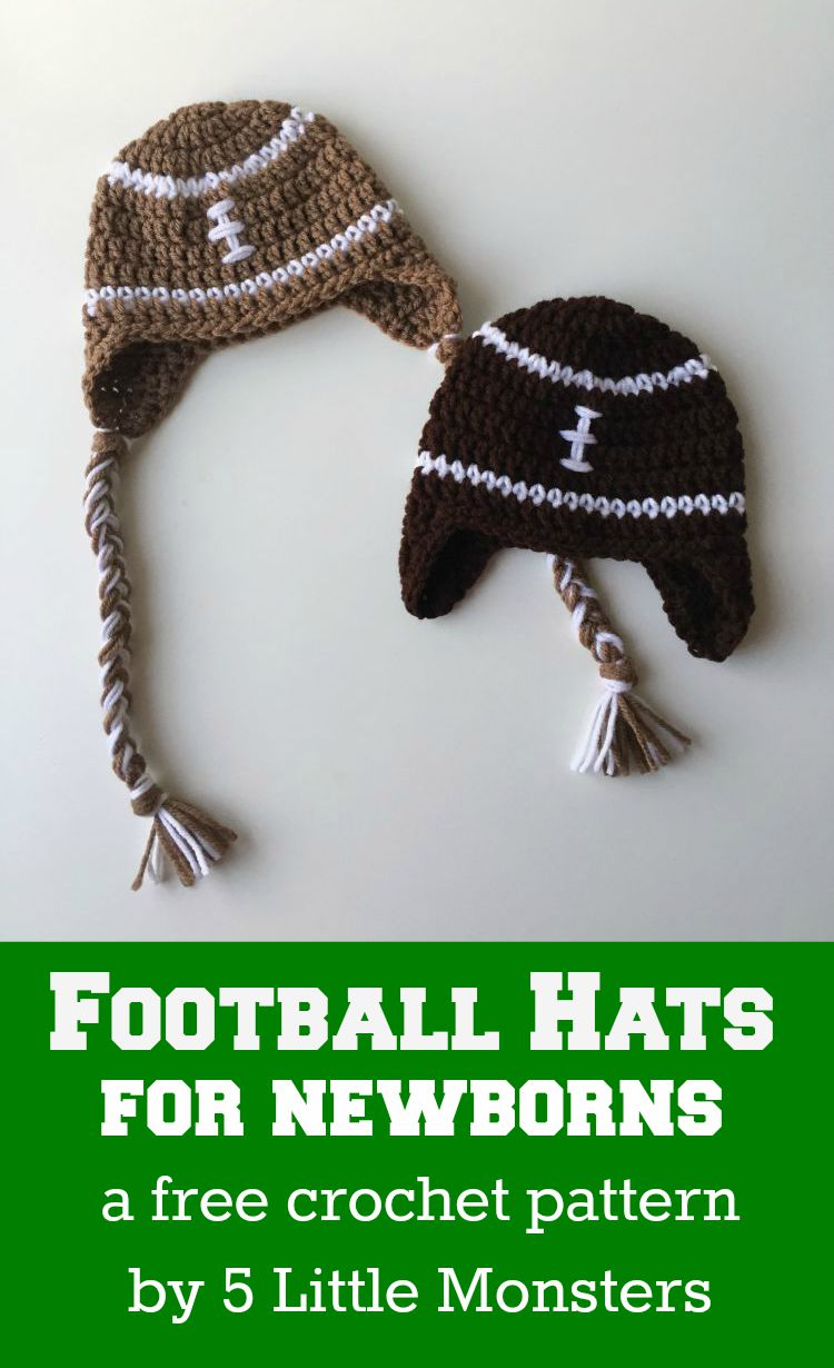 Free pattern for a newborn size crocheted football hat, with or without braids.