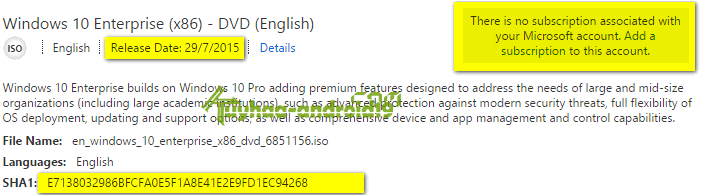 Windows 10 Enterprise x86 Kode HASH