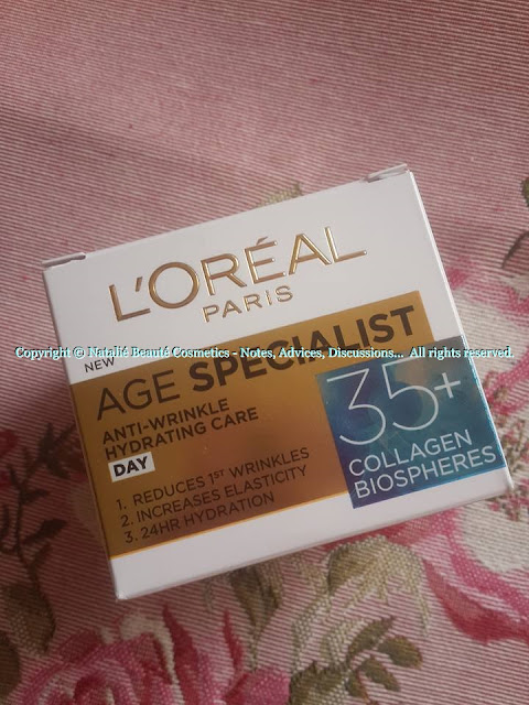 AGE SPECIALIST 35+ COLLAGEN BIOSPHERES by L'OREAL Paris PERSONAL REVIEW AND PHOTOS NATALIE BEAUTE