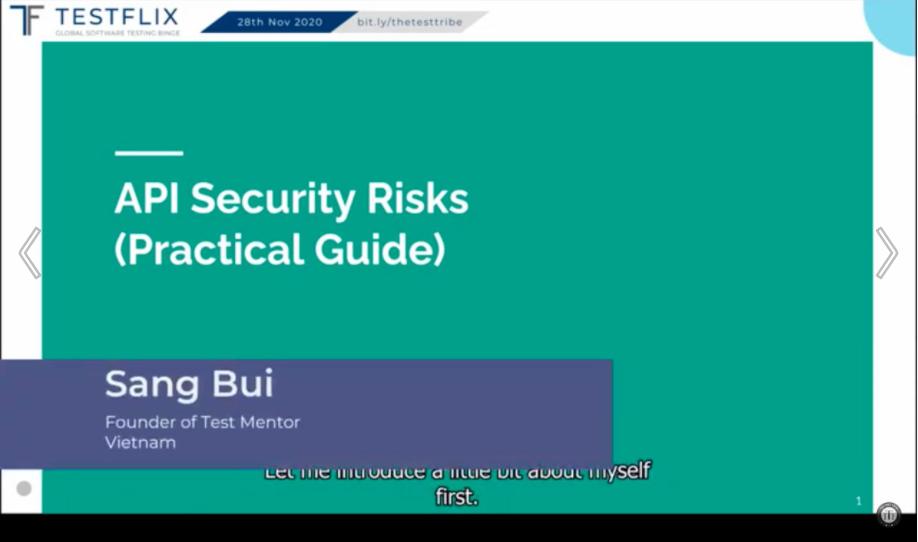 Post-Conference TestFlix Learning:  API Security Testing