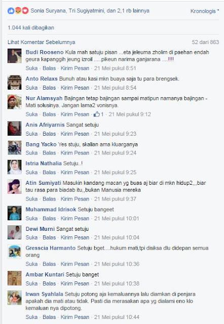 Menurut Survey yang Kami Lakukan Di Beberapa Grup Media Sosial Facebook Ternyara Ratusan Ribu Netizen Setuju Dengan Usulan MUI, Jika Para Pembunuh Eno Harus Dihukum Mati..!! Bagaimana Dengan Kalian..?? - Commando