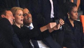 Foto Selfie Presiden Amerika Saat Acara Mengenang Nelson Mandela
