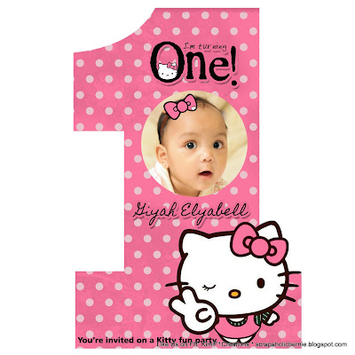 F1 Digital Scrapaholic Hello Kitty 1st Birthday 2 Page Invitation