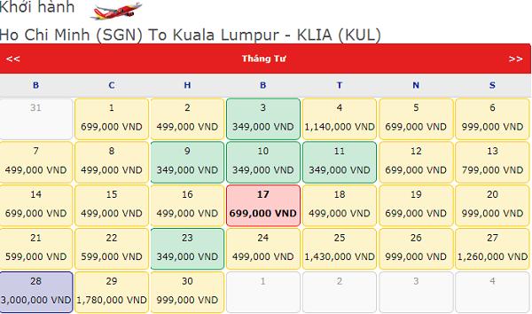 Giá vé máy bay TPHCM đi Kuala Lumpur tháng 4 hãng Vietjet Air