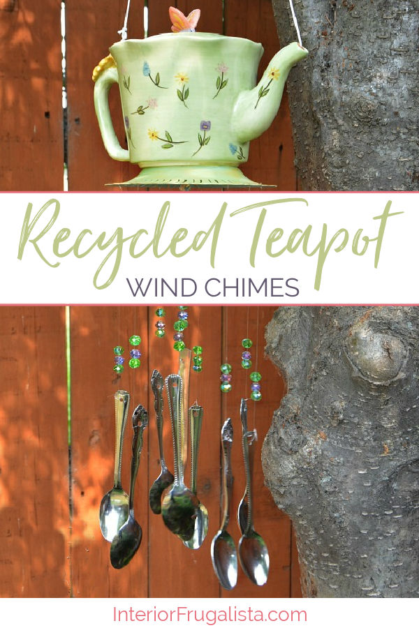 Adorable Recycled Teapot Wind Chimes made with recycled spoons and a teapot. Budget-friendly Spring and Summer garden decor idea or handmade gift idea for the tea lovers in your life! #diywindchimes #handmadewindchimes #recycledteapot