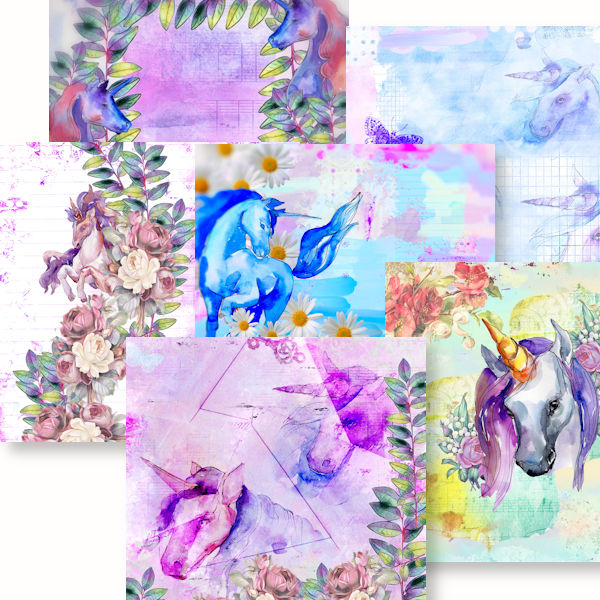 Beautiful unicorn backgrounds for scrapbooking page