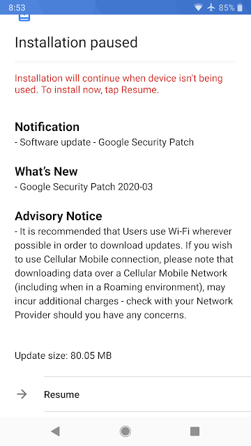 Nokia 8 Sirocco receiving March 2020 Android Security Patch