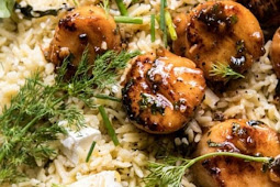 20 minute honey garlic butter scallops and orzo