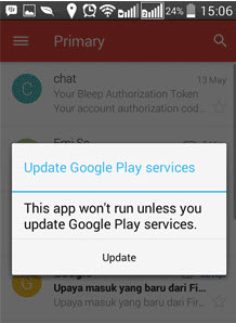 Mengatasi Error This App Won't Run Unless You Update Google Play Services, Insufficient Storage Available (Tidak Cukup Ruang)