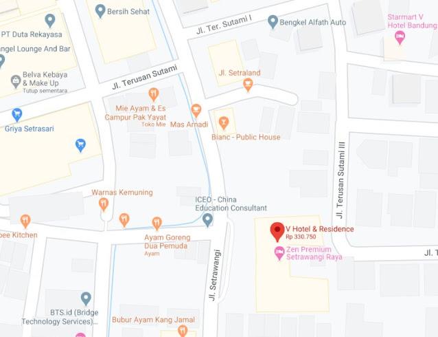 Map Letak Hotel V Bandung