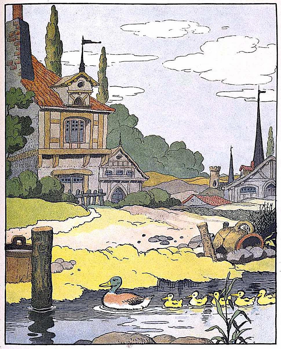 a Benjamin Rabier children's book 1913, a duck family in procession