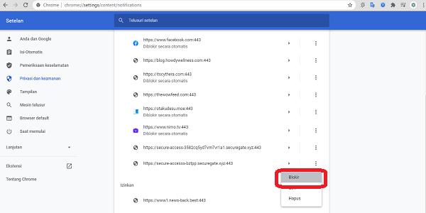 cara blokir notifikasi di browser