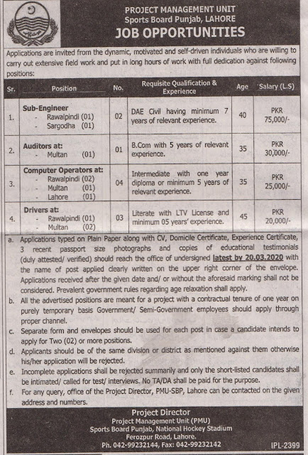 Sports Board Govt Punjab Jobs 2020