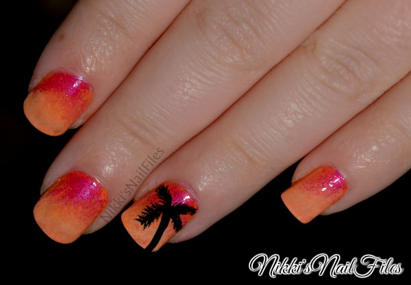Hawaiian nails; sunset nails; sunset manicure; palm tree nails